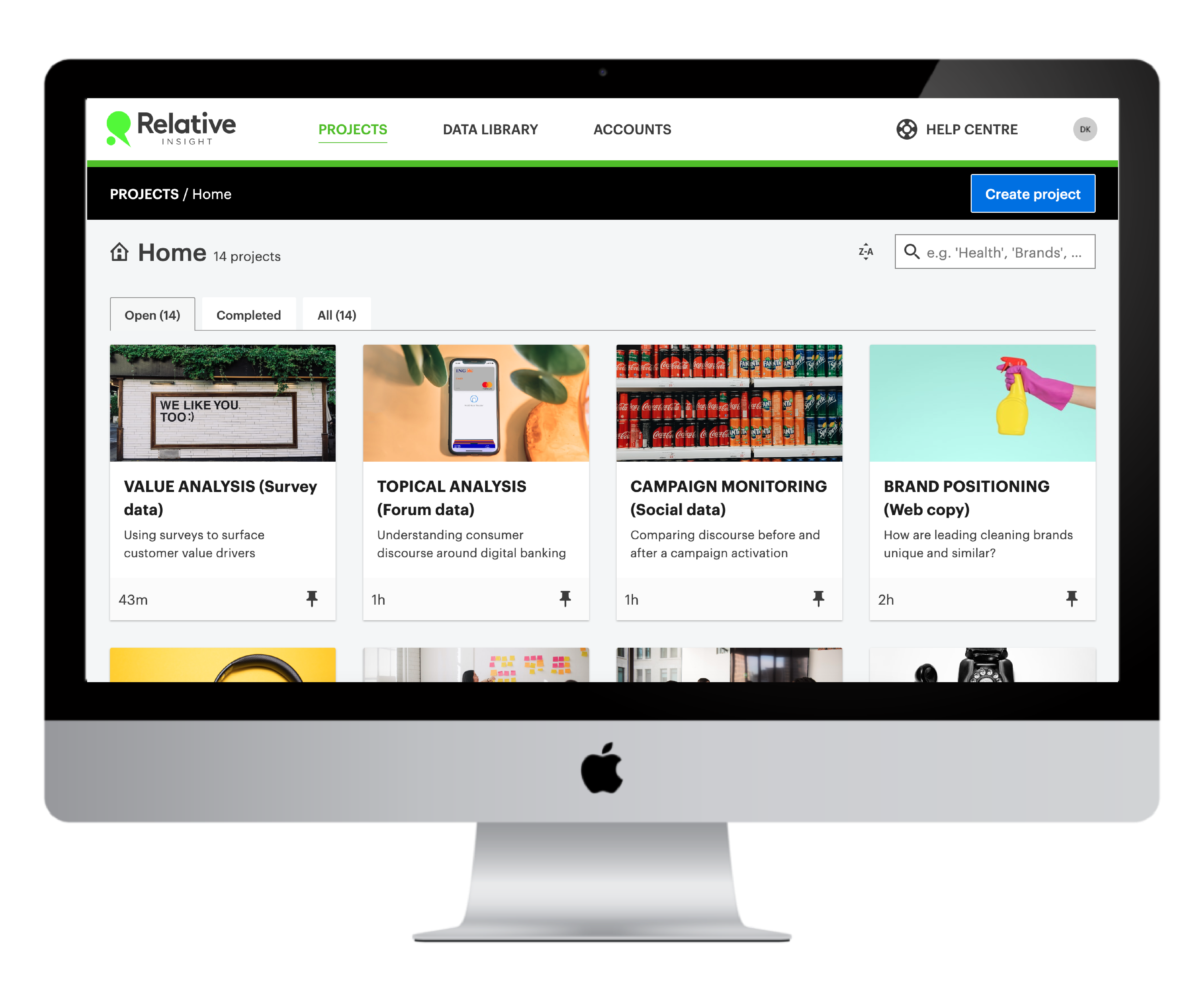 iMac showing Relative Insight marketing insights platform