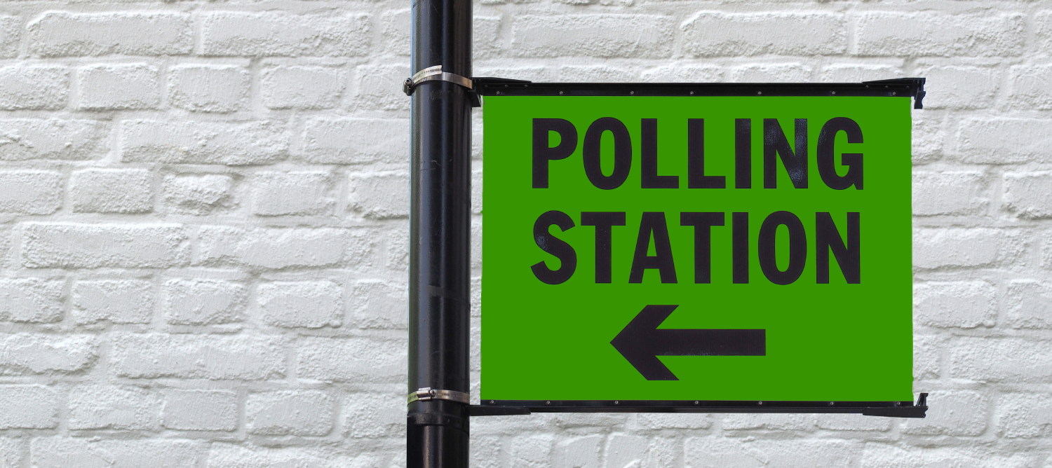 Image of polling station sign for local elections