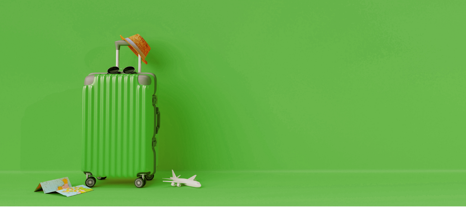 image of green travel suitcase