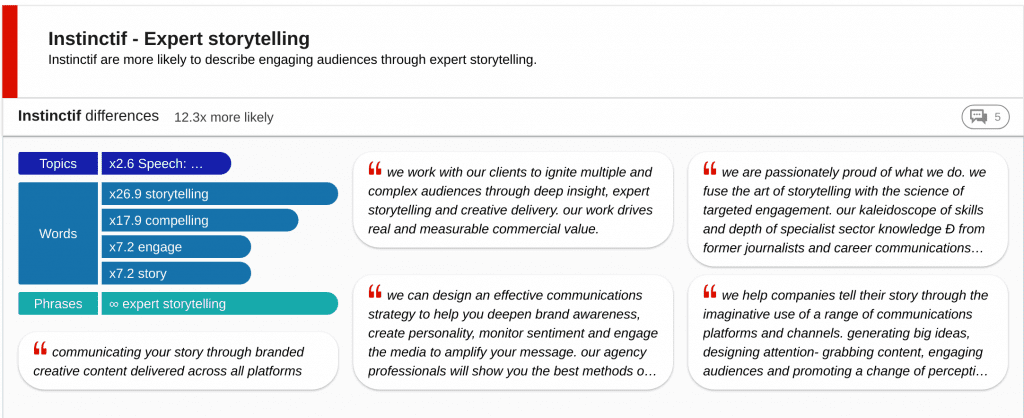 Insight card - agency website mentions storytelling